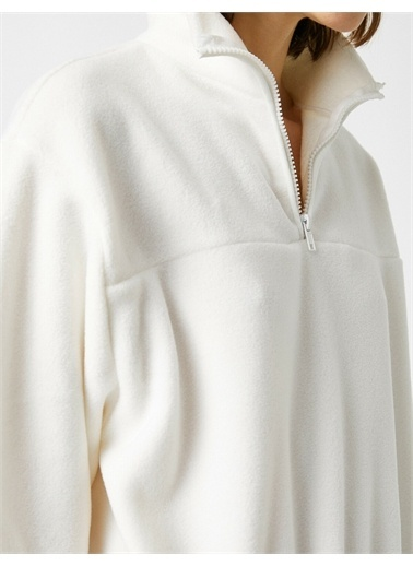 Koton Fermuarli Uzun Kollu Sweatshirt Beyaz